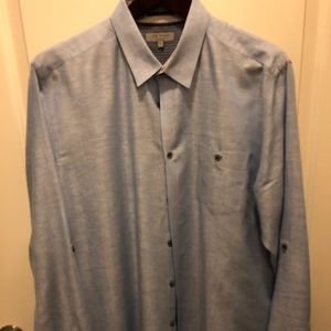 TED BAKER BUTTON DOWN CASUAL DRESS SHIRT LINEN